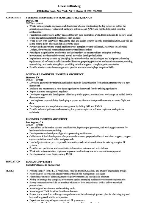 engineer systems architect resume sles velvet jobs
