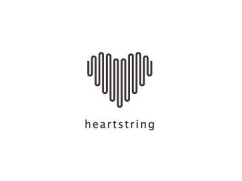 design inspiration black and white heartstring logo minimal black and white