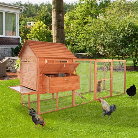 backyard w aosom pawhut large backyard chicken coop w long run