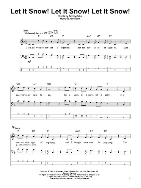 snow on the testo let it snow let it snow let it snow bass guitar tab by