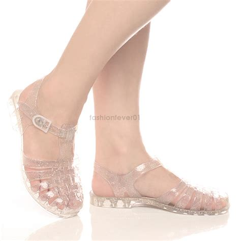 Ban2glosy Jellyshoes Wedges womens flat jelly rubber retro caged sandals shoes summer flip flops size ebay