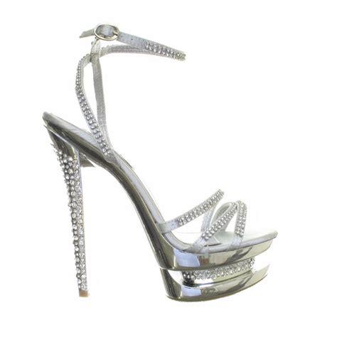silver sandal high heels womens silver diamante high heel diamante platform strappy