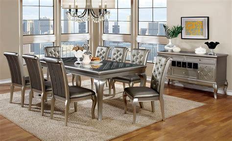 9 dining set amina silver contemporary dining set