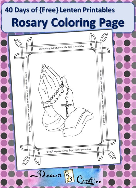 40 Days Of Free Lenten Printables Rosary Coloring Page Rosary Coloring Pages
