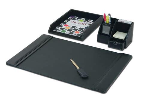 D1005 Black Leather 4 Piece Desktop Organizer Desk Set Desk Set Organizer