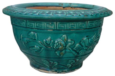Ceramic Garden Pots Ceramic Floral Glazed Planter Green Asian