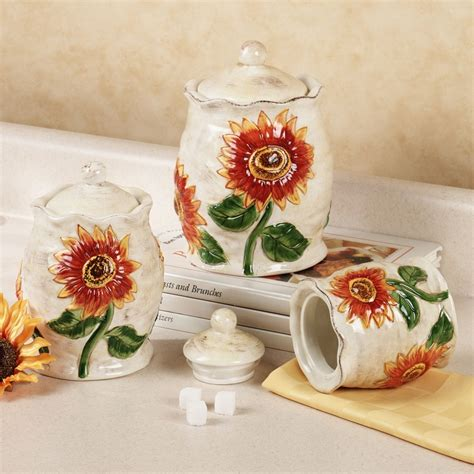 sunflower canisters for kitchen sunflower ceramic kitchen canister set kitchen