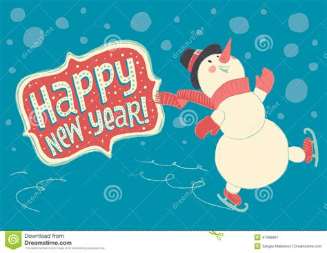 joyful snowman skating  ice  wishes happy  year stock vector image