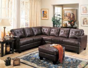 L Leather Sofa Samuel Brown Bonded Leather Sectional Sofa Contemporary L Shape