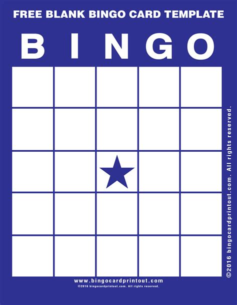 Bingo Card Template With Numbers free blank bingo card template bingocardprintout