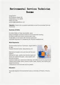 Environmental Services Technician Sle Resume by Resume Sles Environmental Services Technician Resume Sle