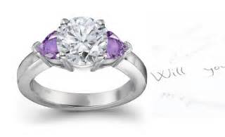 purple wedding rings purple and engagement ring flower and