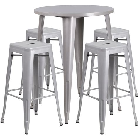 silver metal bar table 30 silver metal indoor outdoor bar table set with