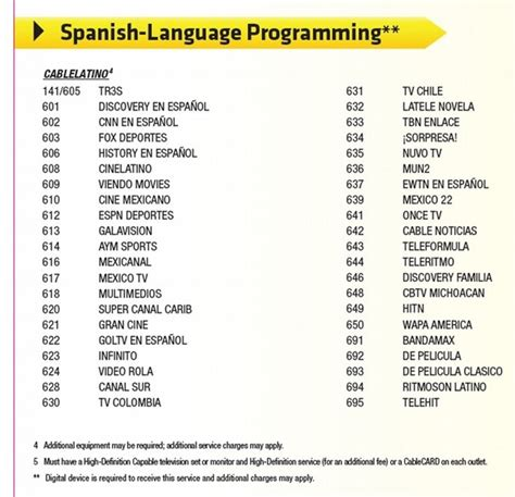 printable xfinity channel guide comcast s current xfinity tv lineup shows 42 spanish