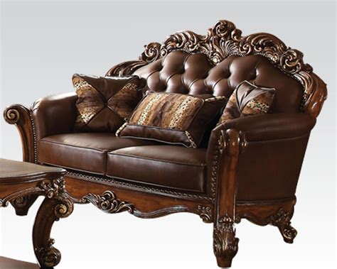 traditional loveseats traditional loveseat vendome cherry by acme furniture ac52002