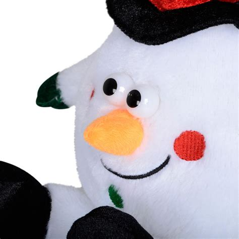animated laughing plush snowman christmas decoration