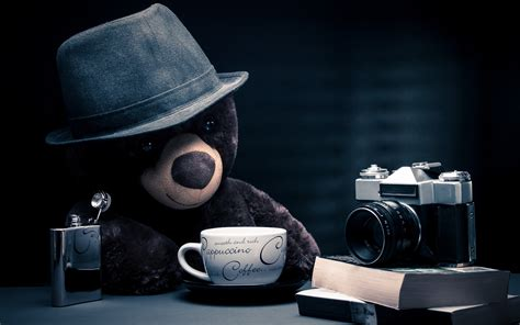 cute camera wallpaper hd cameras books coffee cups teddy bears hats blue