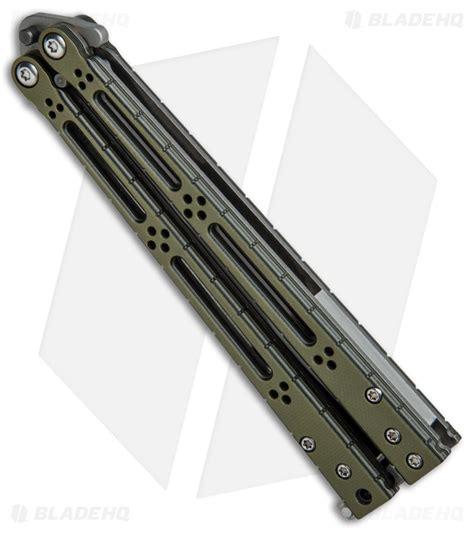 hom design basilisk r balisong knife standard issue green