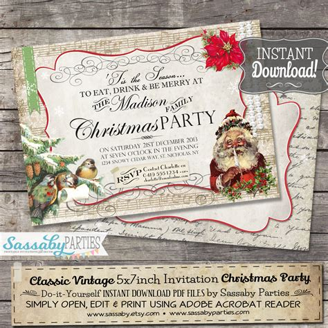 classic vintage christmas invitation red