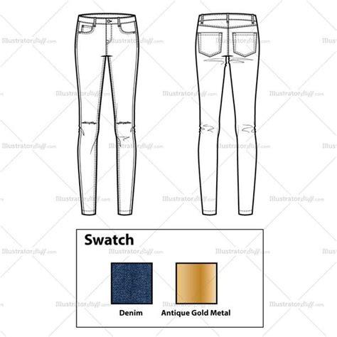 jeans pattern for illustrator skinny jeans with knee slits flat template illustrator stuff