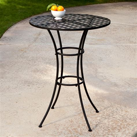 Woodard Capri Wrought Iron Bar Height Bistro Table Patio Rod Iron Patio Table