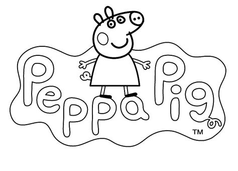 peppa pig birthday coloring page logo to color peppa pig cartoon kids pages for free