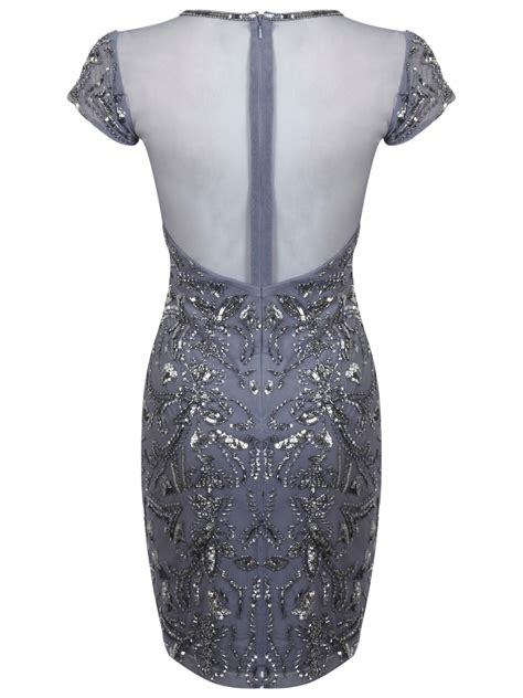 Miss Selfridge Embelished Dress miss selfridge fleur embellished bodycon dress in gray lyst