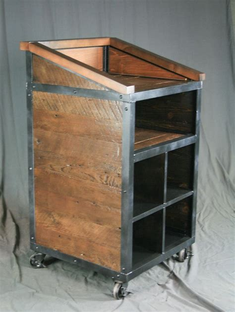 buy  handmade reclaimed wood industrial hostess stand host rustic podium restaurant hotel