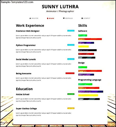 Responsive Resume Template Free by Free One Page Responsive Html Resume Template Sle