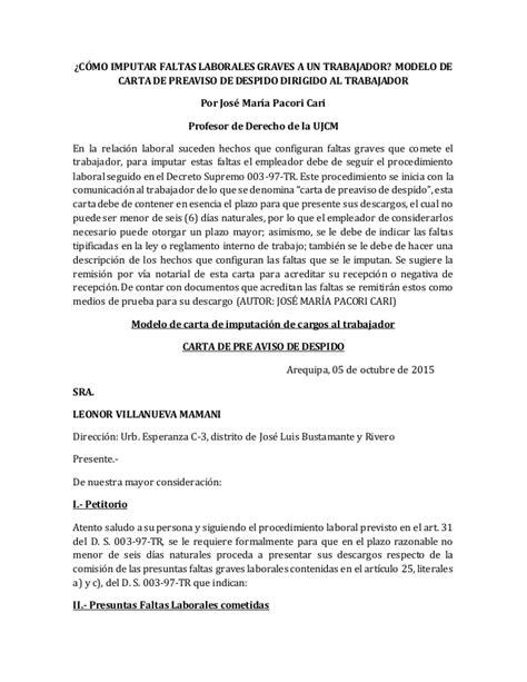 ejemplo carta de despido laboral c 243 mo imputar faltas laborales graves a un trabajador