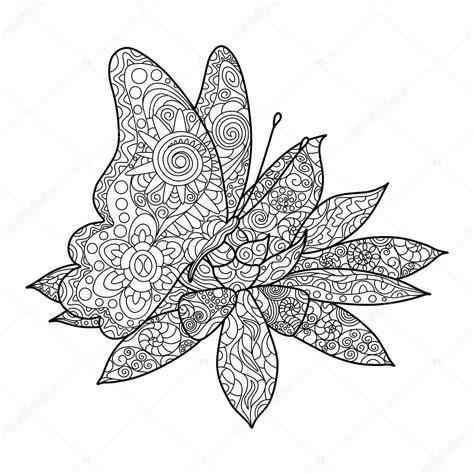 tekening vlinder met bloem vlinder met bloem kleuren boek volwassenen vector