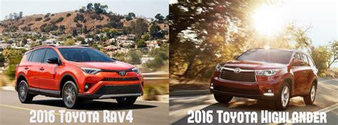 Toyota Highlander Vs Rav4 2016 Toyota Rav4 Vs 2016 Toyota Highlander