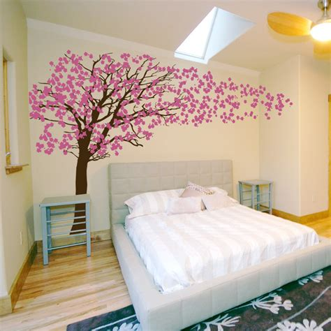 blossoms bedroom cherry blossom tree blowing in the wind wall decal