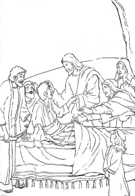 coloring pages jesus raising widow s tri que tra jesus brings the widow s to