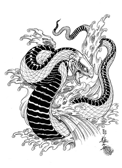 japanese snake tattoos designs mosher flash set 100 татуировок