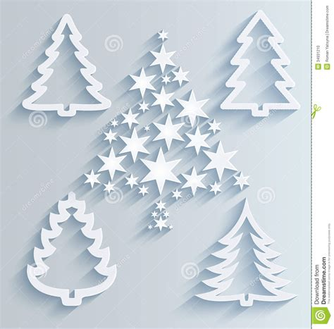 christmas trees paper holiday decorations stock