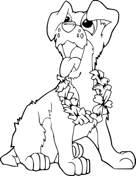 cute puppy coloring page for kids free printable picture