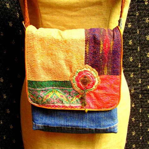 Handmade Denim Purses - handmade upcycled denim purse with velvet quilted indian