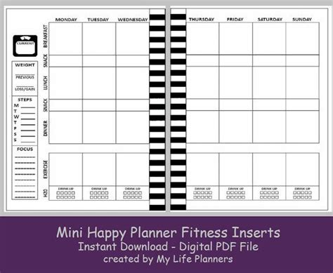 printable happy planner inserts mini fitness happy planner inserts printable happy