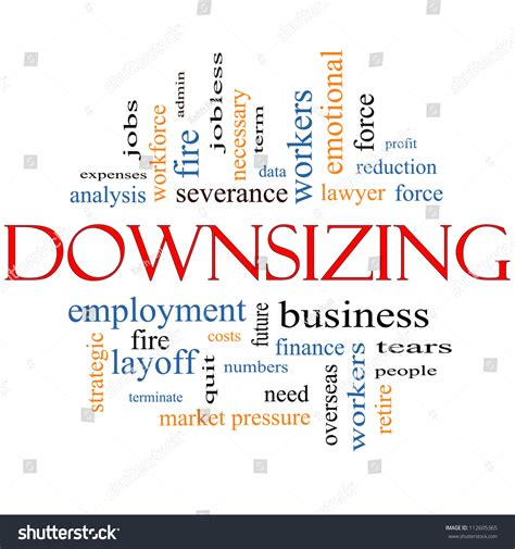 down sizing downsizing word cloud concept great terms stock