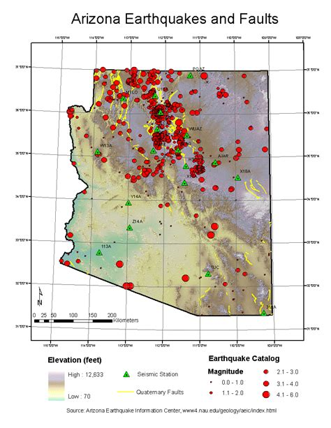 earthquake history map map of arizona earthquakes my blog