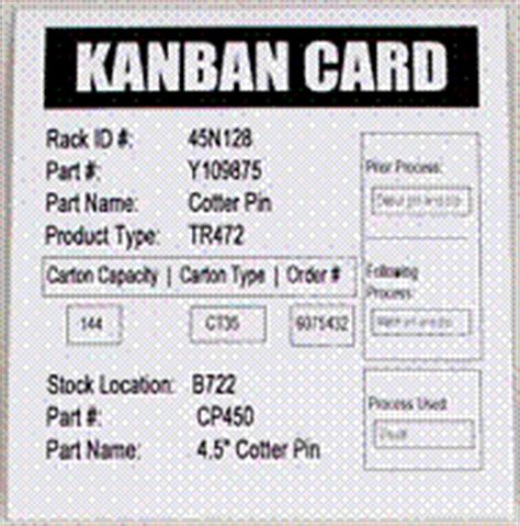 kanban reorder card template sustain the gains of lean improvements