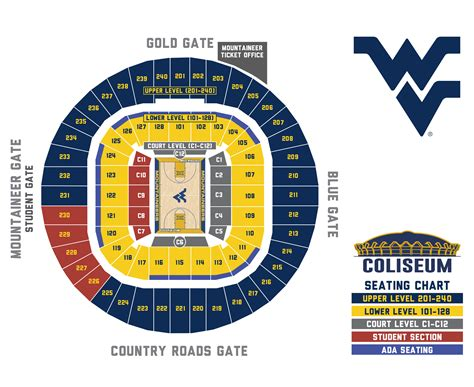 basketball seating chart wvu west virginia