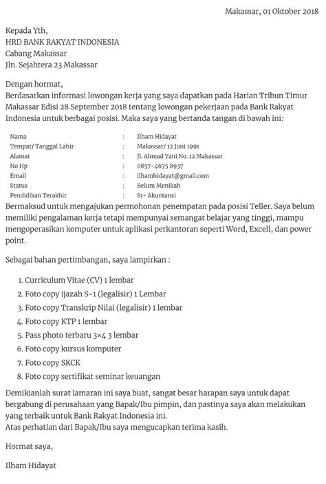 Contoh Lamaran Kerja Bank Bri - Download Contoh Lengkap