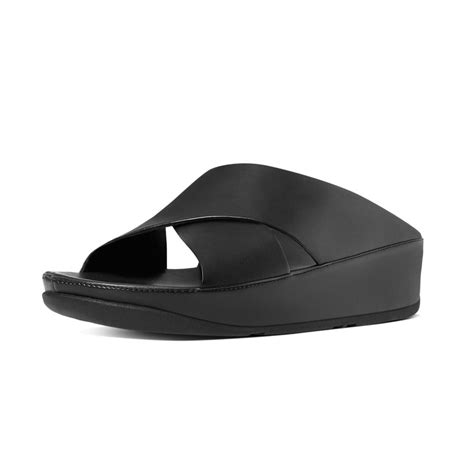 s slide sandals leather fitflop kys leather slide sandals in all black mozimo