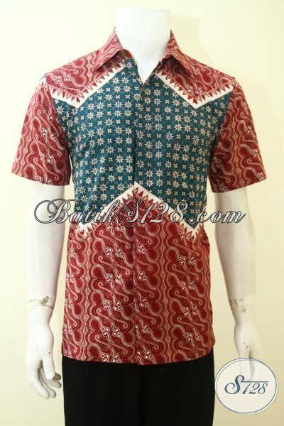 desain baju batik hijau hem batik pria paling keren warna kombinasi merah dan