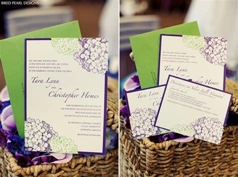 elegant purple green wedding invitation onewed com