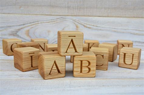 Handmade Alphabet Blocks - 33 handmade wooden latvian alphabet by
