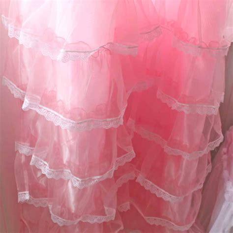 pink ruffle shower curtain lace ruffled curtain
