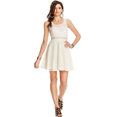 Dress Lace Import 1 american rag lace illusion skater dress in white lyst